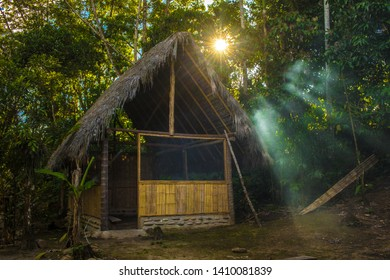 Basic hut in the Amazon rainforest