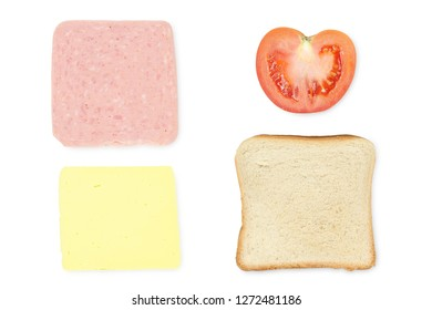 basic ingredients for sandwich isolated on white
