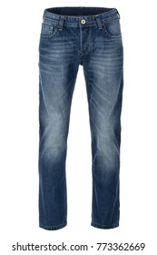 Basic men's blue jeans, regular fit, no labels, front, photographed on a ghost mannequin with white background.