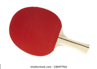 Basic red table tennis racquet on white
