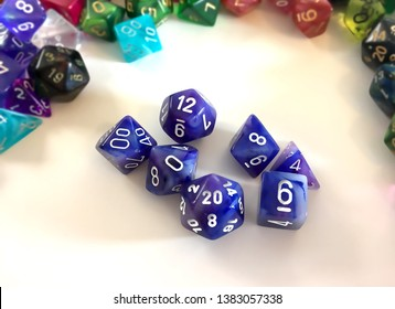 A basic set of dice used for many role playing games which includes a 20-sided, a 12-sided, a 10-sided, a 8-sided, a 6-sided, 4-sided dice, and a percentile dice.