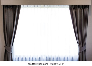 Basic style of luxury curtain at home close up.