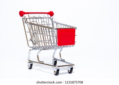 Basic style of shpping cart close up on white background.  Copy space on right side for text or other use.