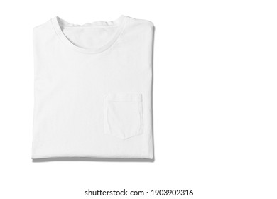 Basic white Tshirt on isolated on white background. Mock up for branding t-shirt with pocket.