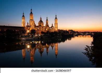 Basicilica Pilar Church in Zaragoza at sunset