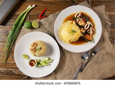 Basil fried rice with Seafood and Top omelet, top view
