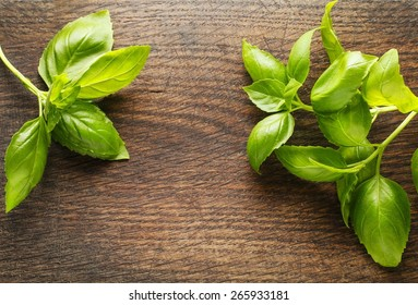Basil leaves on wooden background. Copy space