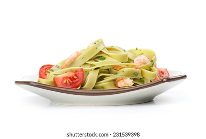 basil noodle with shrimps and tomato isolated on white