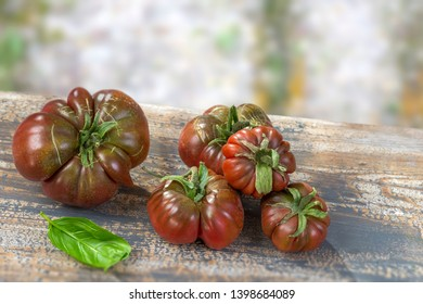 basil organic tomatoes on a table