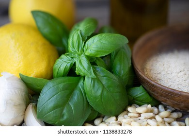Basil, pine nuts, garlic, lemons and nutritional yeast: ingredients for vegan pesto