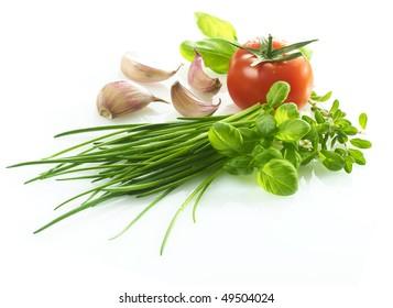 Basil Tomato garlic