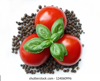 basil and tomatoes with allspices