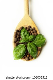 basil with water drops on spoon