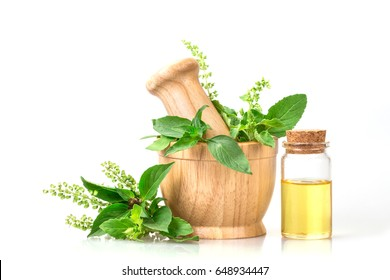 basil in wooden mortar with essential oil , alternative herbal medicine and aromatherapy concept