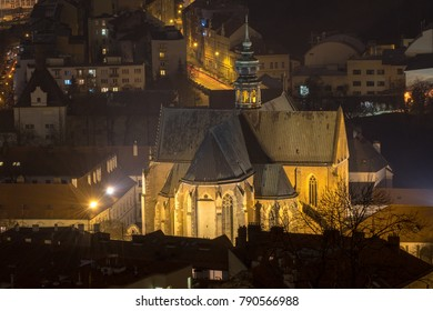 Basilica of the Assumption of the Virgin Mary at night, Brno city, Moravia, Czech republic