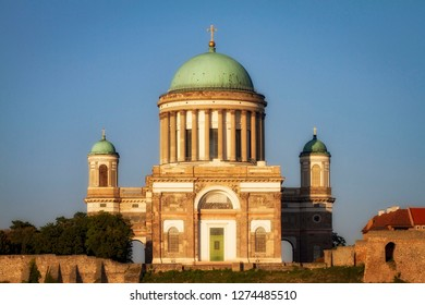 Basilica of the Blessed Virgin Mary in Esztergom, Hungary. View from Sturovo, Slovakia. Place of worship. Religious architecture.
