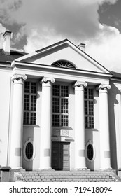 Basilica in Bydgoszcz city, Poland. Vintage style black and white.