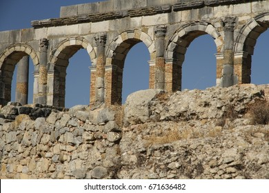 The Basilica and Capitoline Temple of  the ancient  Roman city of Volubilis - a partly excavated Amazigh - near Moulay Idriss, it was the ancient capital of the kingdom of Mauritania.