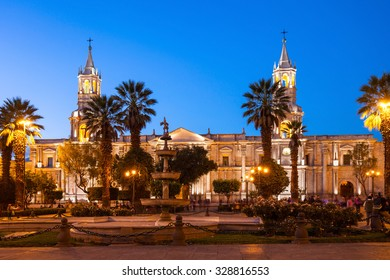 The Basilica Cathedral of Arequipa on sunset, Arequipa in Peru