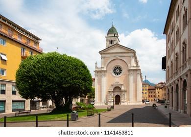 Basilica church Chiesa di S. Maria Maggiore in Trento, Trentino, Italy. Host of preparatory works of the Council of Trent.