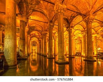 The Basilica Cistern, (Yerebatan), Istanbul, Turkey.