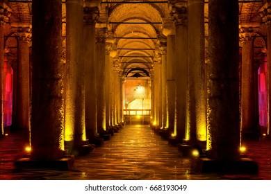 Basilica cistern (Yerebatan cistern) in Istanbul, Turkey