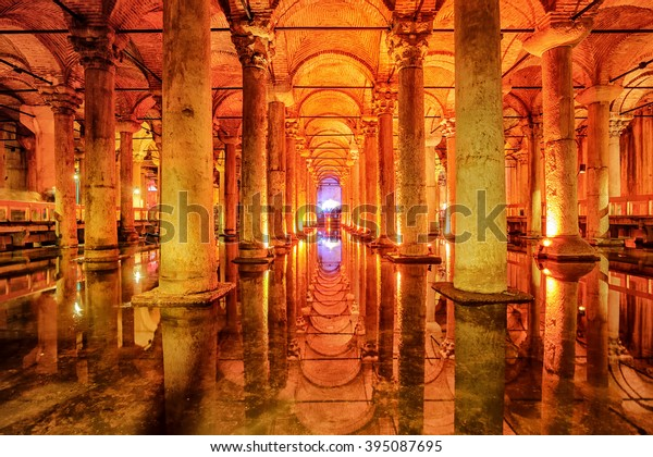The Basilica Cistern, or Yerebatan Sarayi, is the ancient underground water reservoir beneath Istanbul city, Turkey