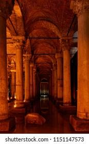 Basilica Cistern (Yerebatan Sarnici) - Underground water reservoir in Istanbul, Turkey