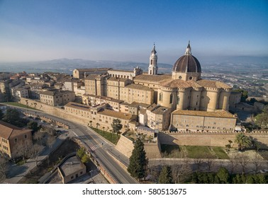 Basilica de Santa Casa in Loreto Le Marche Region of Italy Italia - Drone aerial photography of cathedral