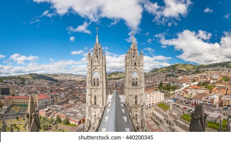 Basilica del Voto Nacional and doqntown Quito in  Ecuador