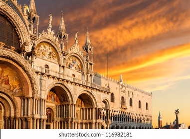 Basilica di San Marco and Monastery of San Giorgio under very dramatic sunset, Venice, Italy