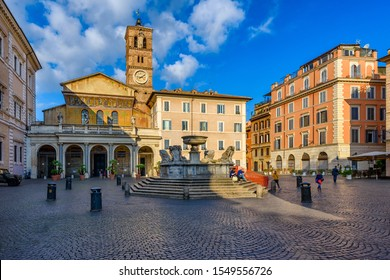 Basilica di Santa Maria in Trastevere and Piazza di Santa Maria in Trastevere, Rome, Italy. Trastevere is rione of Rome, on west bank of Tiber in Rome. Architecture and landmark of Rome