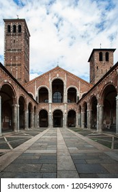 Basilica di Sant'Ambrogio, Milan, Italy. One of the most ancient churches in Milan, it was built by St Ambrose in 379-386, in an area where numerous martyrs of the Roman persecutions had been buried