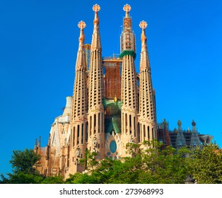 Basilica and Expiatory Church of the Holy Family (Sagrada Familia). Roman Catholic church in Barcelona, designed by Catalan architect Antonio Gaudi.