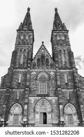 Basilica of the Holy Apostles Peter and Paul in Vysehrad, Prague, Czech republic. XI-XIX century. Black and white photo. Tourism and travel.