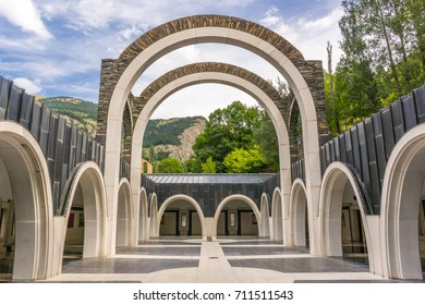 Basilica of Meritxell, located in Andorra, a country located in the Pyrenees