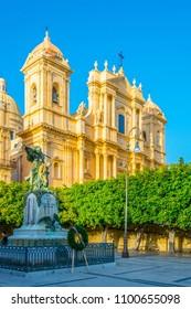 Basilica Minore di San Nicolò and the monumento ai caduti della grande guerra in Noto, Sicily, Italy