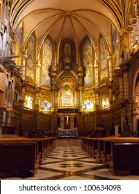 Basilica at the Montserrat Monastery placed in high mountains near the Barcelona, Spain.