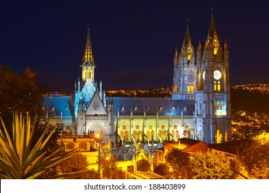 Basilica Of National Vote By Night Quito Ecuador