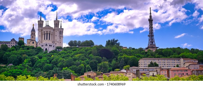 The Basilica of Notre Dame de Fourviere overlooking Lyon, France and the Saone River.