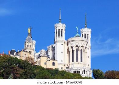 Basilica of Notre-Dame de Fourviere in Lyon, France