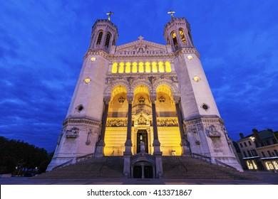 Basilica of Notre-Dame de Fourviere in Lyon. Lyon, Rhone-Alpes, France.