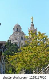 Basilica of Notre-Dame de la Garde (Our Lady of the Guard) in Marseilles, France