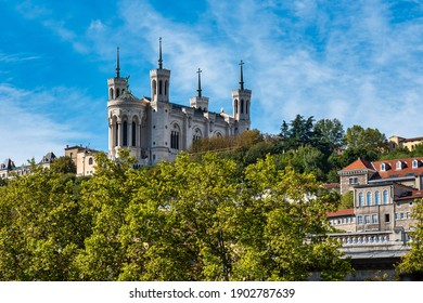The Basilica of Notre-Dame of Fourviere, La Basilique Notre Dame de Fourviere in Lyon, France, Europe