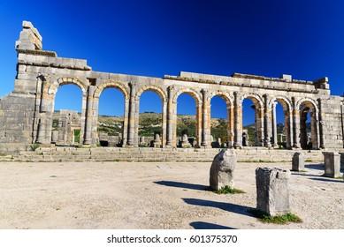 Basilica in Roman ruins, ancient Roman city of Volubilis. Morocco. North Africa