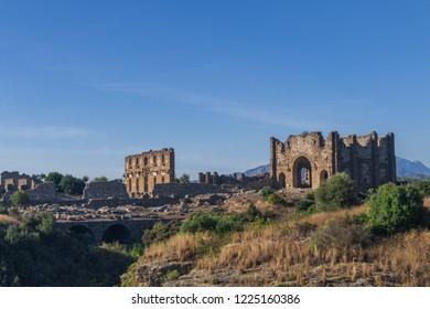 BASILICA RUINS, BYZANTINE EMPIRE, ASPENDOS, TURKEY