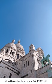 The Basilica of Sacre Coeur in the hilltop Paris village of Montmartre.