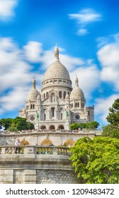 Basilica of Sacre-Coeur in Montmartre, Paris, France - HDR view.