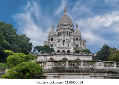 The Basilica of the Sacred Heart of Paris, commonly known as Sacré-Cœur Basilica located on the hill of Montmartre in Paris France.