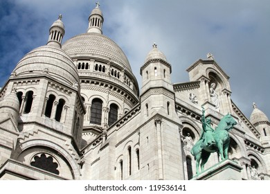 The Basilica of the Sacred Heart of Paris in Montmarte. Also known as the Basilique du Sacre Coeur.